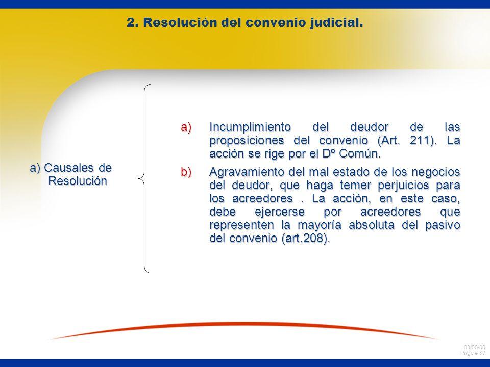 03/00/00 Page # 89 2. Resolución del convenio judicial. a) Causales de Resolución a)Incumplimiento del deudor de las proposiciones del convenio (Art.