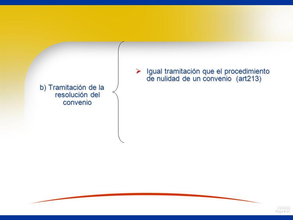 03/00/00 Page # 90 b) Tramitación de la resolución del convenio Igual tramitación que el procedimiento de nulidad de un convenio (art213) Igual tramit