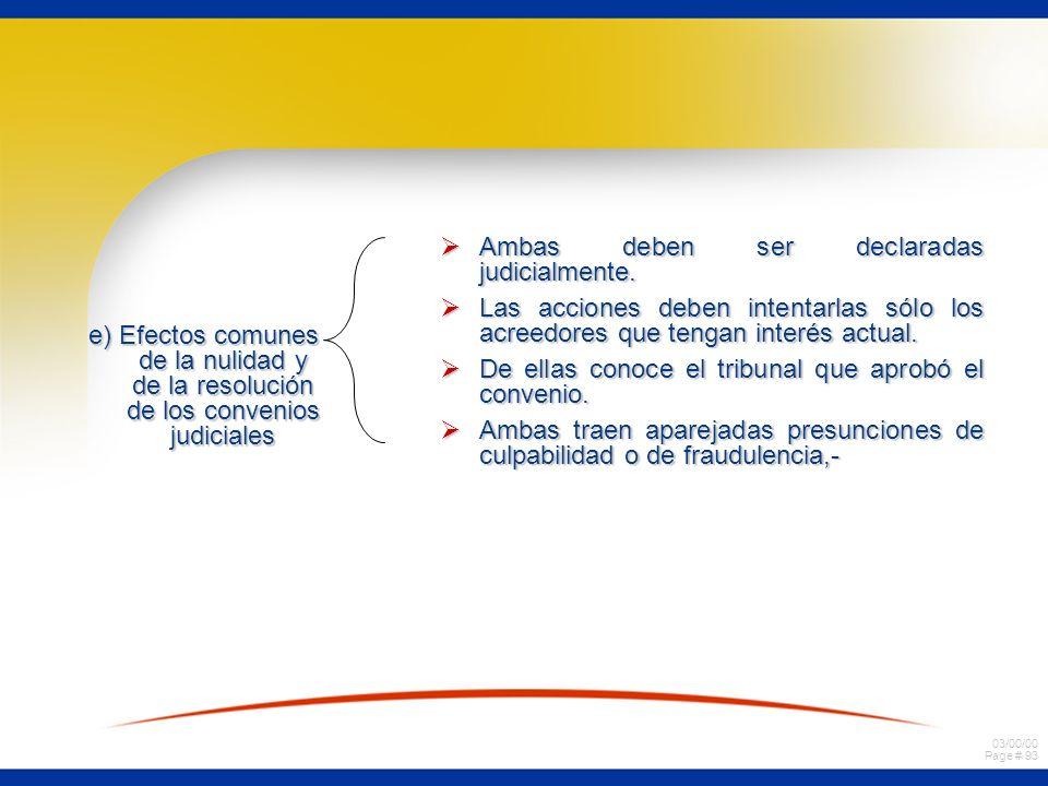 03/00/00 Page # 93 e) Efectos comunes de la nulidad y de la resolución de los convenios judiciales Ambas deben ser declaradas judicialmente. Ambas deb