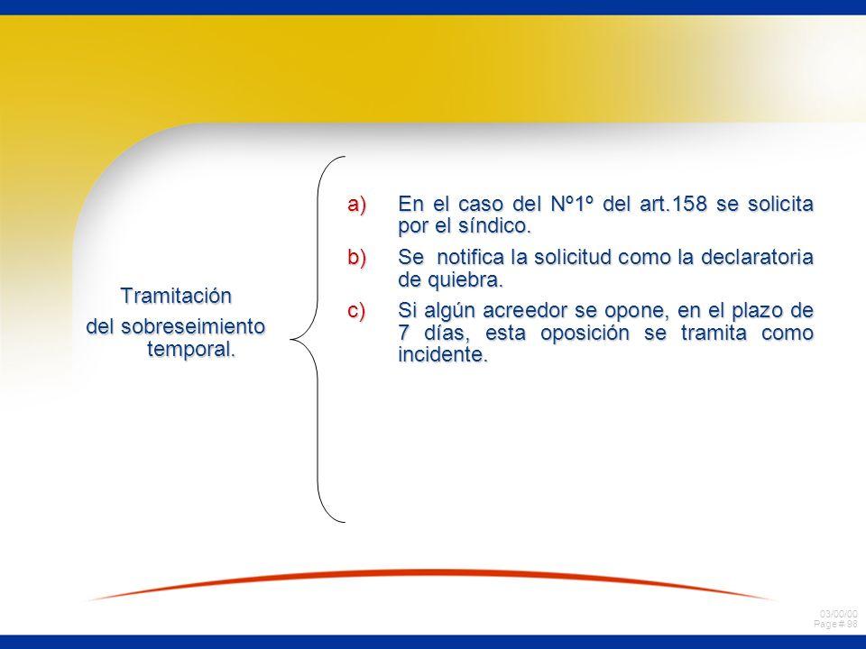 03/00/00 Page # 98 Tramitación del sobreseimiento temporal. a)En el caso del Nº1º del art.158 se solicita por el síndico. b)Se notifica la solicitud c