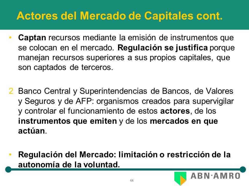 11 Actores del Mercado de Capitales cont. Captan recursos mediante la emisión de instrumentos que se colocan en el mercado. Regulación se justifica po