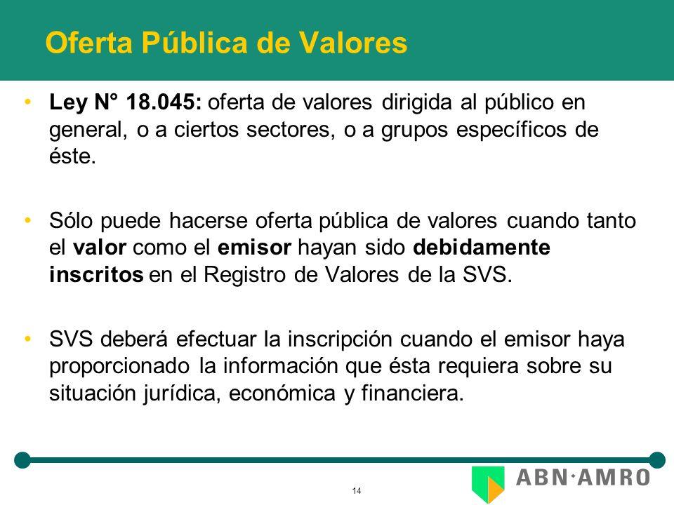 14 Oferta Pública de Valores Ley N° 18.045: oferta de valores dirigida al público en general, o a ciertos sectores, o a grupos específicos de éste. Só