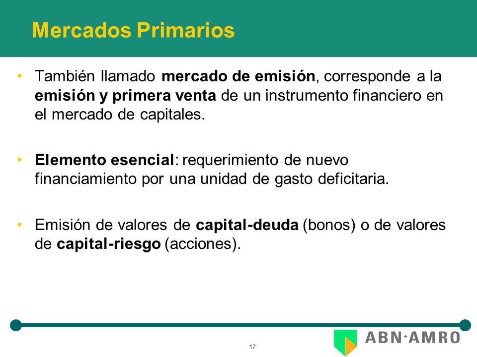 17 Mercados Primarios También llamado mercado de emisión, corresponde a la emisión y primera venta de un instrumento financiero en el mercado de capitales.