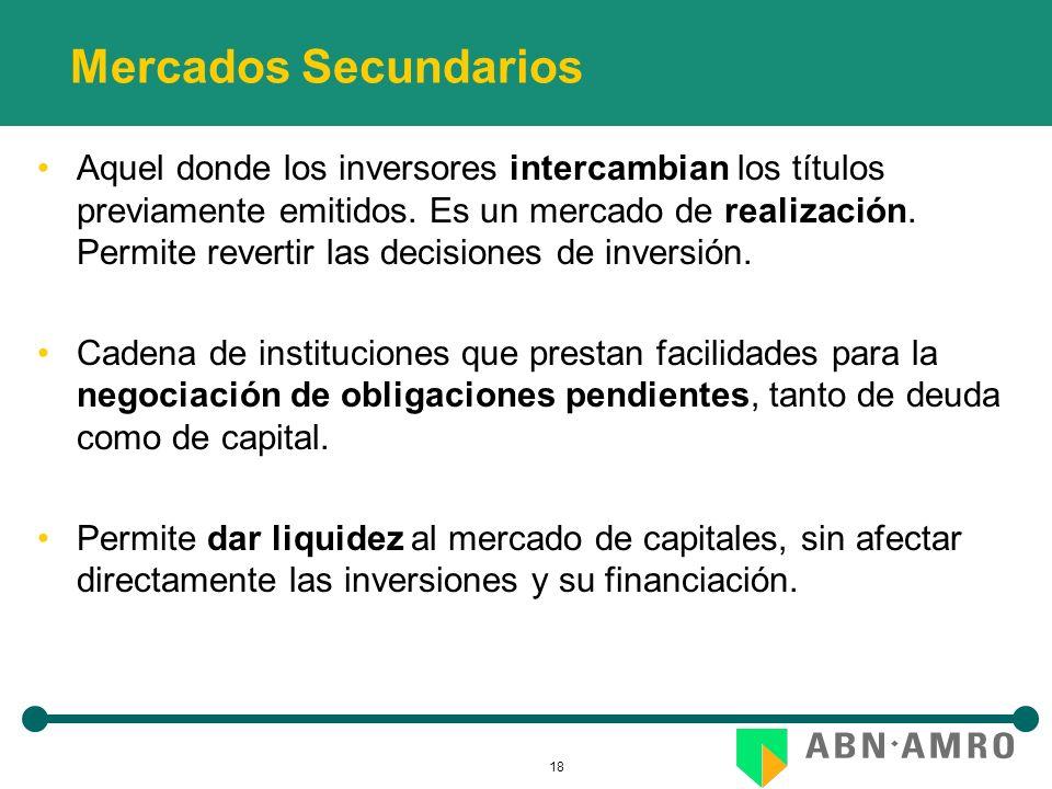 18 Mercados Secundarios Aquel donde los inversores intercambian los títulos previamente emitidos. Es un mercado de realización. Permite revertir las d