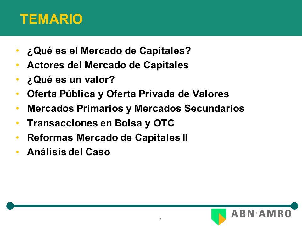 2 TEMARIO ¿Qué es el Mercado de Capitales. Actores del Mercado de Capitales ¿Qué es un valor.