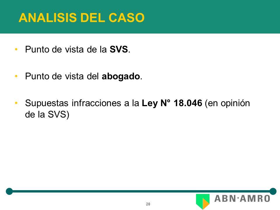 28 ANALISIS DEL CASO Punto de vista de la SVS. Punto de vista del abogado. Supuestas infracciones a la Ley N° 18.046 (en opinión de la SVS)