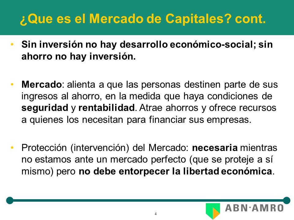 4 ¿Que es el Mercado de Capitales? cont. Sin inversión no hay desarrollo económico-social; sin ahorro no hay inversión. Mercado: alienta a que las per