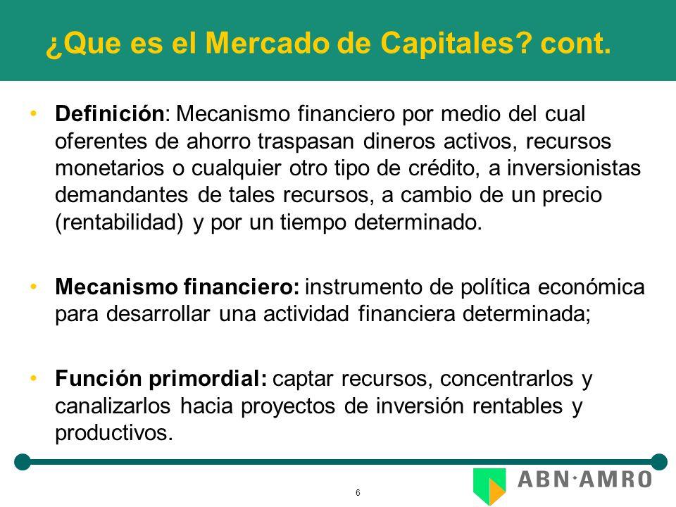 6 ¿Que es el Mercado de Capitales? cont. Definición: Mecanismo financiero por medio del cual oferentes de ahorro traspasan dineros activos, recursos m
