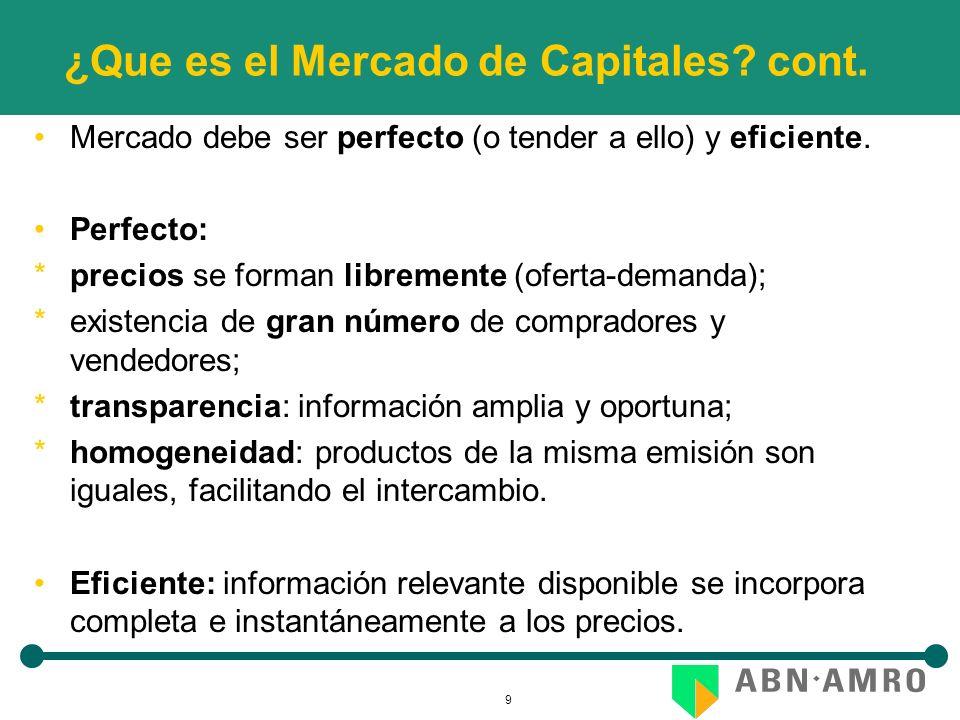 9 ¿Que es el Mercado de Capitales? cont. Mercado debe ser perfecto (o tender a ello) y eficiente. Perfecto: *precios se forman libremente (oferta-dema