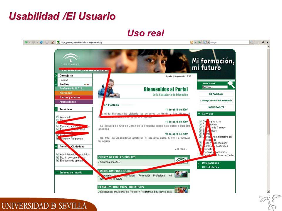 Usabilidad /El Usuario Uso real