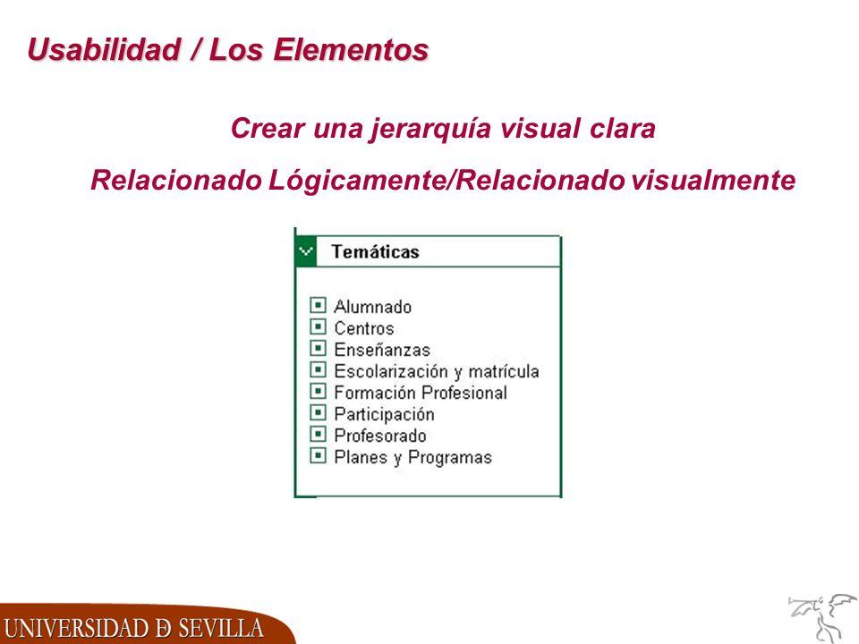 Usabilidad / Los Elementos Crear una jerarquía visual clara Relacionado Lógicamente/Relacionado visualmente