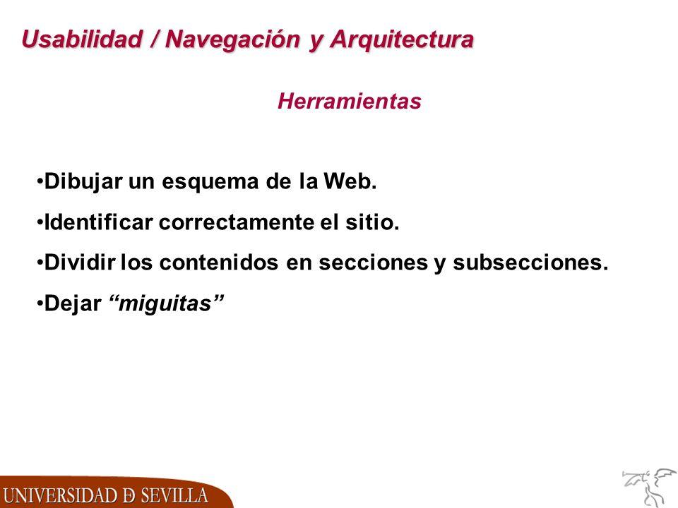 Usabilidad / Navegación y Arquitectura Herramientas Dibujar un esquema de la Web.