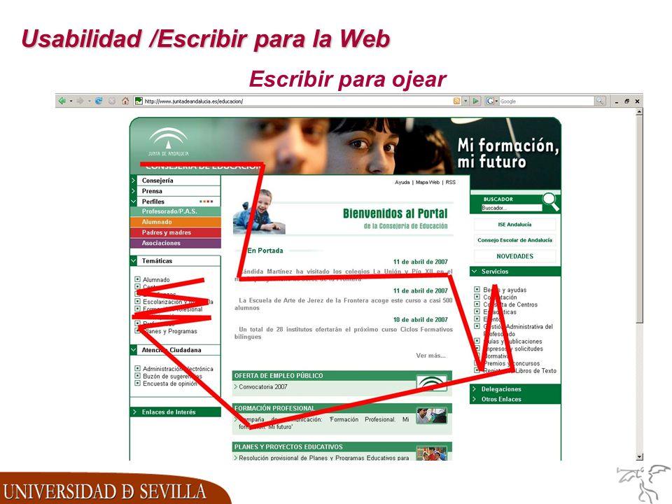 Usabilidad /Escribir para la Web Escribir para ojear