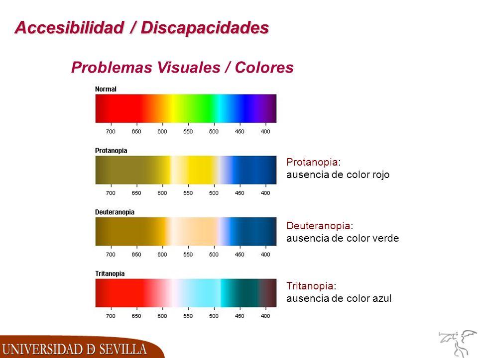 Accesibilidad / Discapacidades Protanopia: ausencia de color rojo Deuteranopia: ausencia de color verde Tritanopia: ausencia de color azul Problemas Visuales / Colores