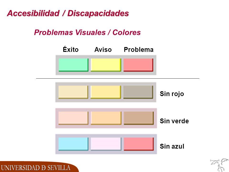 Accesibilidad / Discapacidades Problemas Visuales / Colores ProblemaAvisoÉxito Sin azul Sin rojo Sin verde