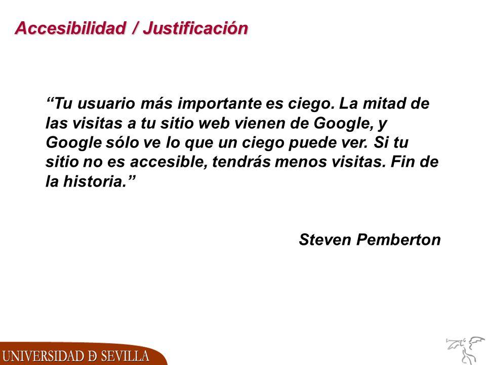 Accesibilidad / Justificación Tu usuario más importante es ciego.