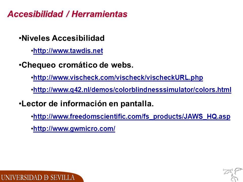 Accesibilidad / Herramientas Niveles Accesibilidad http://www.tawdis.net Chequeo cromático de webs.