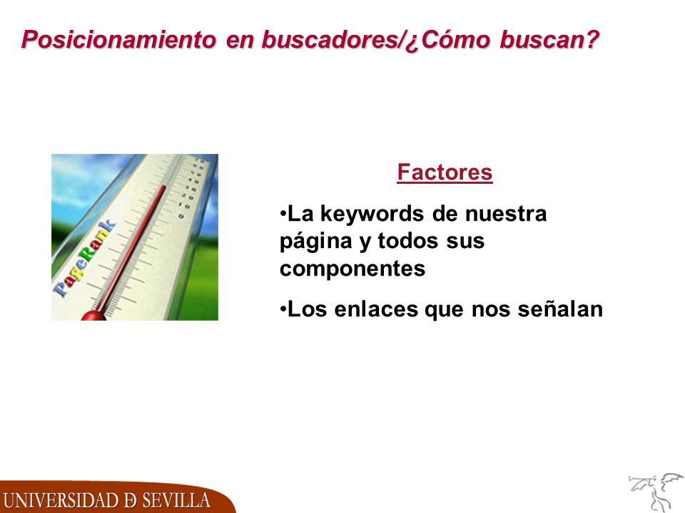 Factores La keywords de nuestra página y todos sus componentes Los enlaces que nos señalan
