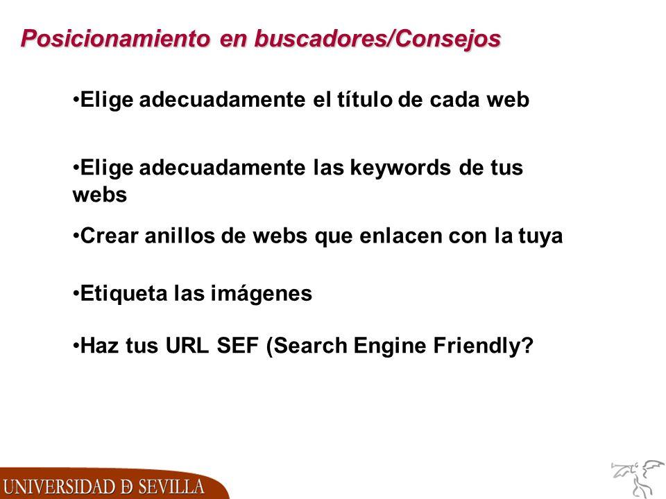 Posicionamiento en buscadores/Consejos Elige adecuadamente las keywords de tus webs Crear anillos de webs que enlacen con la tuya Etiqueta las imágenes Haz tus URL SEF (Search Engine Friendly.