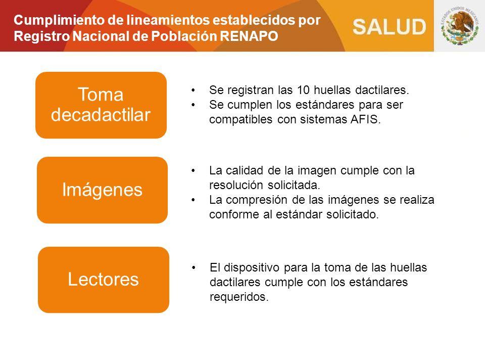 Cumplimiento de lineamientos establecidos por Registro Nacional de Población RENAPO Toma decadactilar Se registran las 10 huellas dactilares. Se cumpl