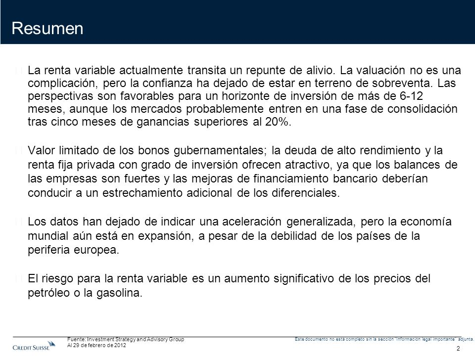 2 Este documento no está completo sin la sección Información legal importante adjunta.