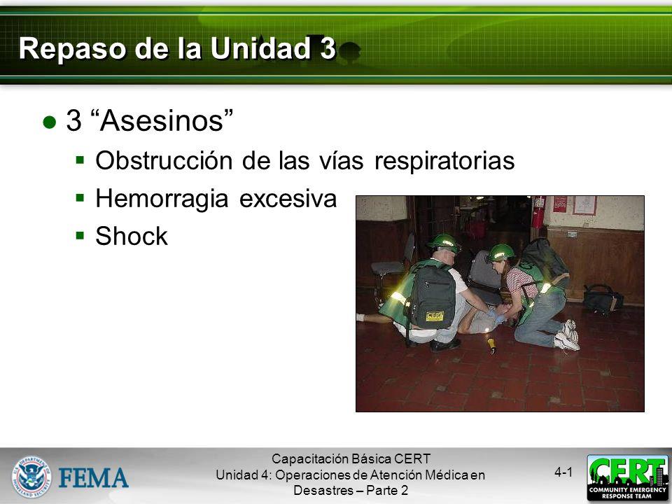 4-1 Repaso de la Unidad 3 3 Asesinos Obstrucción de las vías respiratorias Hemorragia excesiva Shock Capacitación Básica CERT Unidad 4: Operaciones de Atención Médica en Desastres – Parte 2