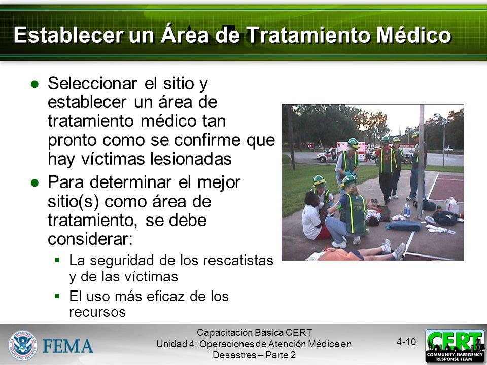 4-9 Funciones de las Operaciones de Atención Médica en Desastres Priorización Tratamiento Transporte Morgue Suministro Capacitación Básica CERT Unidad