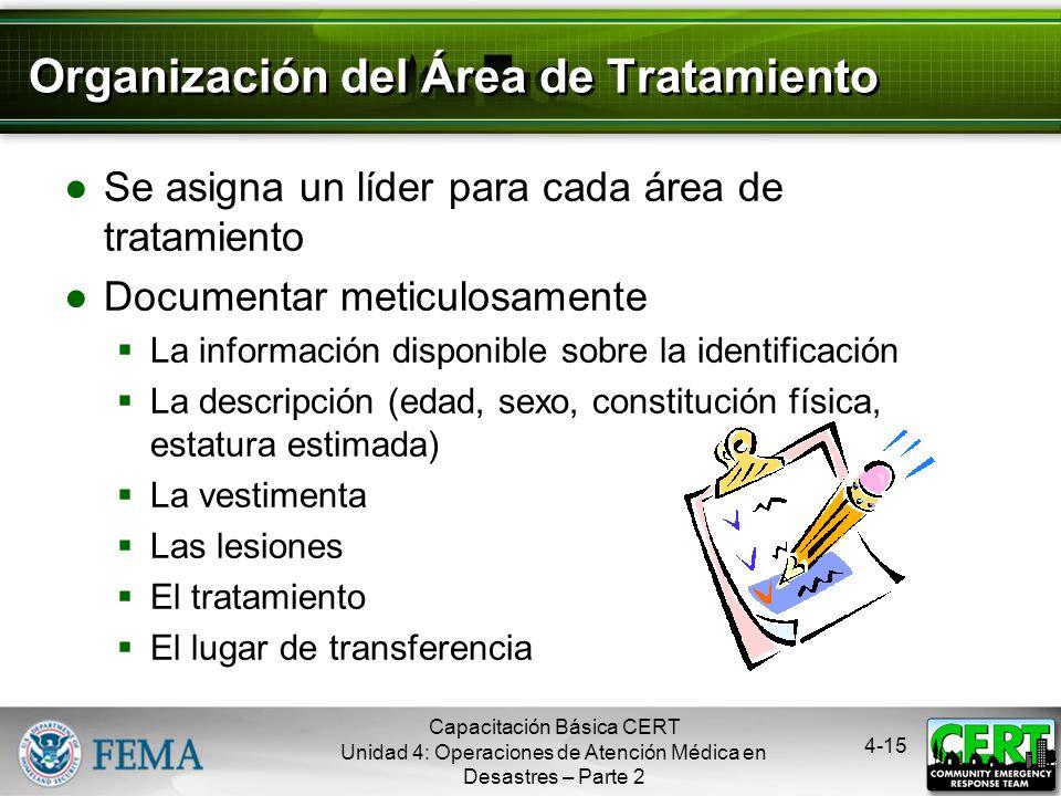 4-14 Trazado del Área de Tratamiento Capacitación Básica CERT Unidad 4: Operaciones de Atención Médica en Desastres – Parte 2