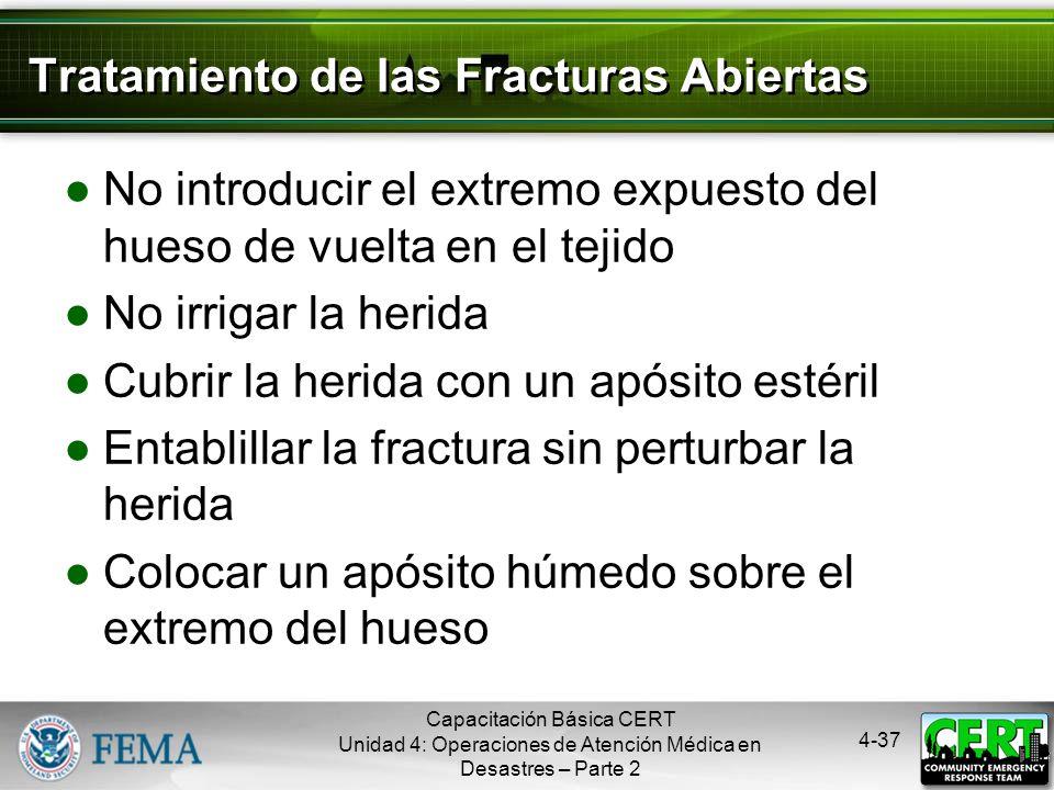 4-36 Tipos de Fracturas Capacitación Básica CERT Unidad 4: Operaciones de Atención Médica en Desastres – Parte 2