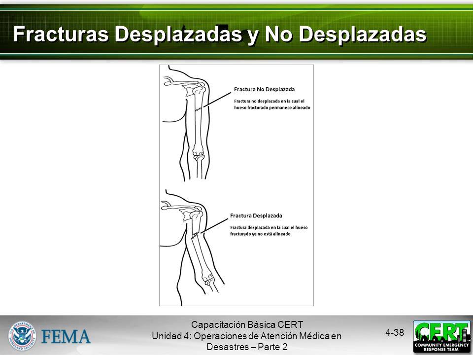 4-37 Tratamiento de las Fracturas Abiertas No introducir el extremo expuesto del hueso de vuelta en el tejido No irrigar la herida Cubrir la herida co