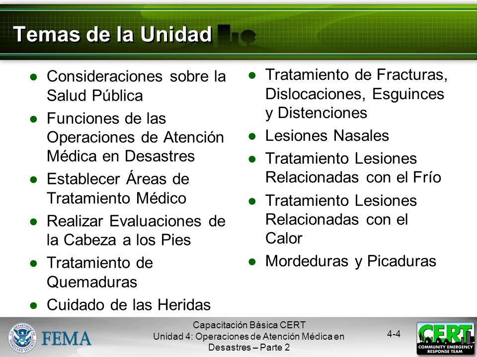 4-3 Objetivos de la Unidad Tomar las medidas apropiadas de sanidad para ayudar a proteger la salud pública Realizar evaluaciones de la cabeza a los pi