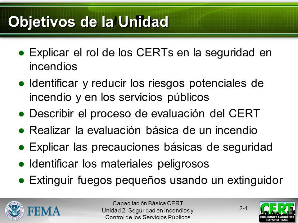 Seguridad en Incendios y Control de los Servicios Públicos Capacitación Básica CERT Unidad 2