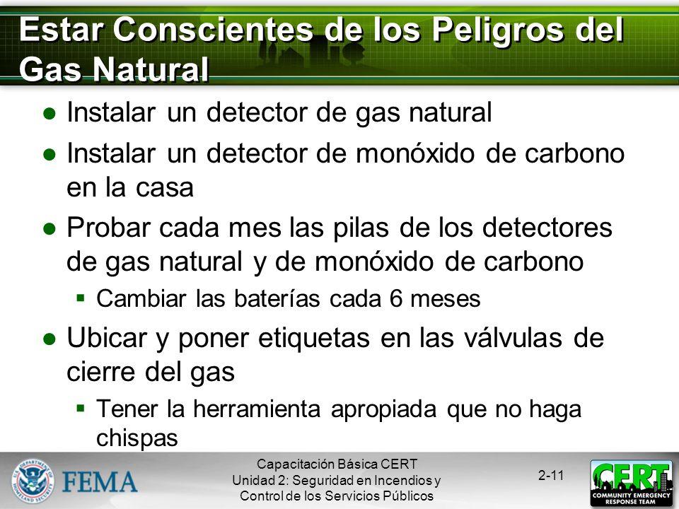 Capacitación Básica CERT Unidad 2: Seguridad en Incendios y Control de los Servicios Públicos 2-10 Peligros del Gas Natural Asfixiante Roba el oxígeno