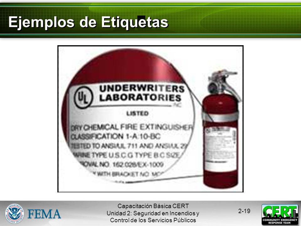Capacitación Básica CERT Unidad 2: Seguridad en Incendios y Control de los Servicios Públicos 2-18 Clasificación y Etiquetado de los extinguidores Las