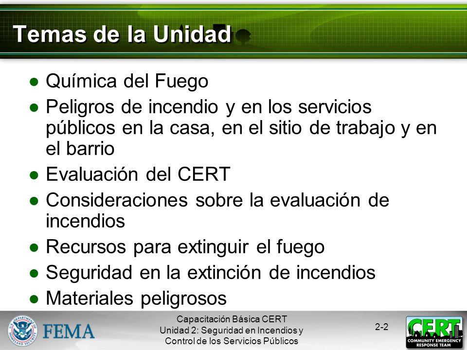 Capacitación Básica CERT Unidad 2: Seguridad en Incendios y Control de los Servicios Públicos 2-1 Objetivos de la Unidad Explicar el rol de los CERTs