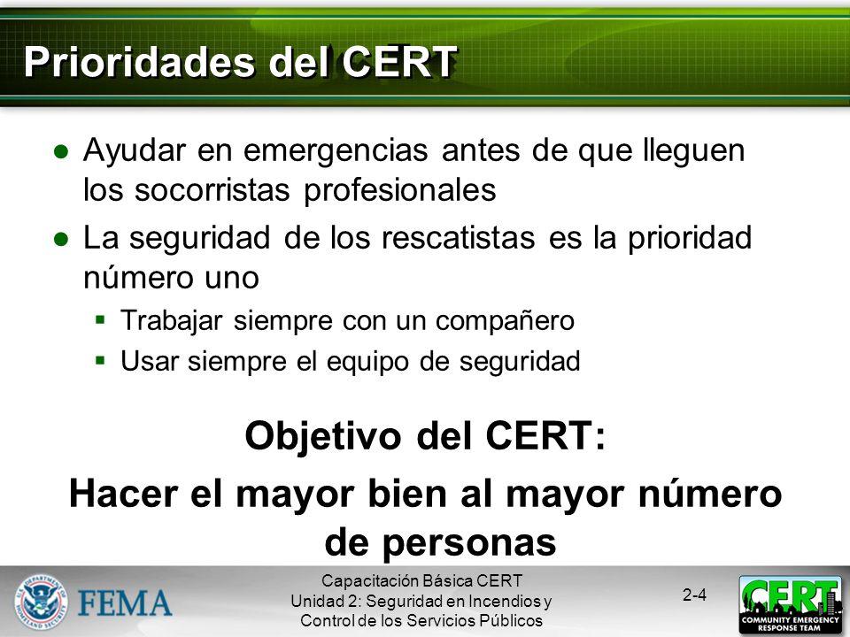 Capacitación Básica CERT Unidad 2: Seguridad en Incendios y Control de los Servicios Públicos 2-3 Rol de los CERTs Los CERTs juegan un rol muy importa