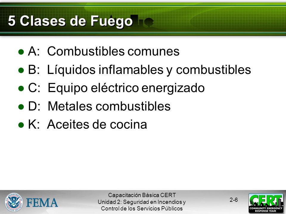 Capacitación Básica CERT Unidad 2: Seguridad en Incendios y Control de los Servicios Públicos 2-5 El Triángulo del Fuego Calor Combustible Oxígeno