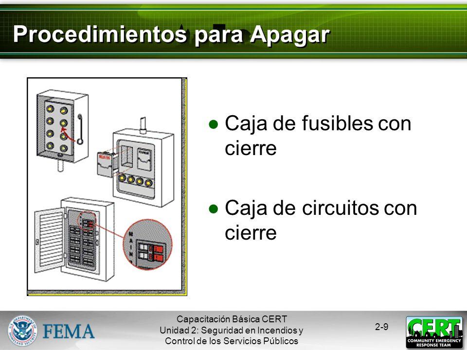 Capacitación Básica CERT Unidad 2: Seguridad en Incendios y Control de los Servicios Públicos 2-8 Emergencias Eléctricas Conocer cómo cortar la electr