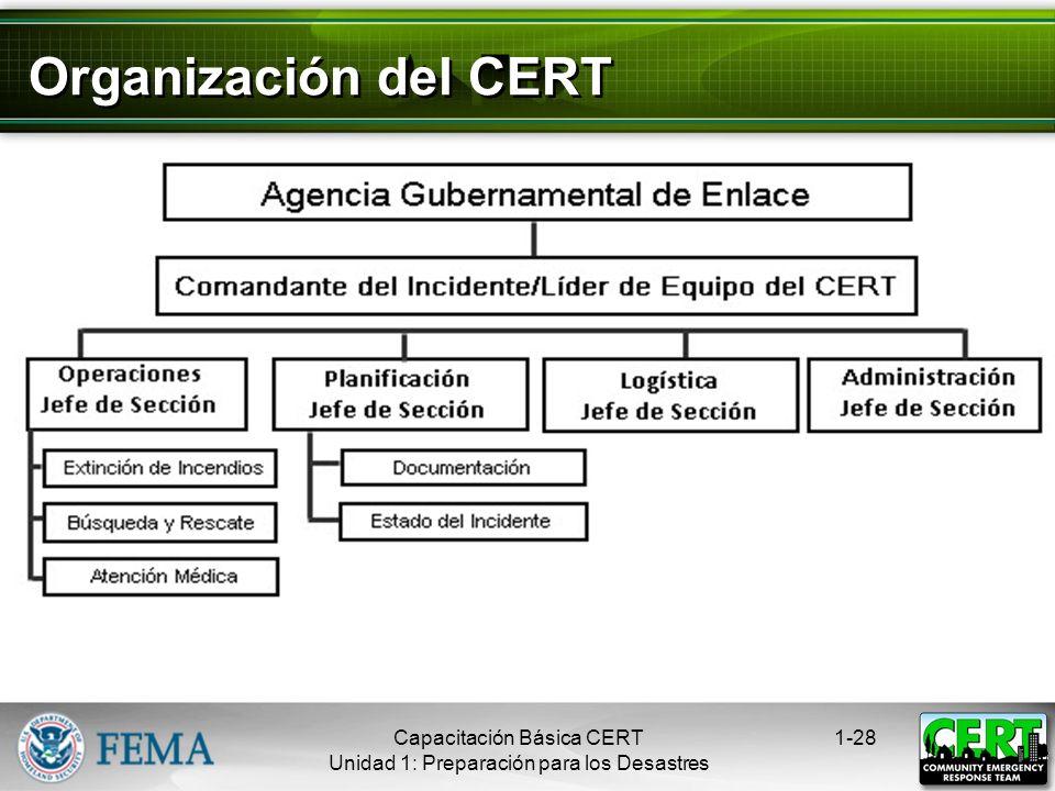 Respuesta del CERT a los Desastres Responde en el período inmediatamente posterior a un desastre Ayuda al personal de respuesta a emergencias cuando l