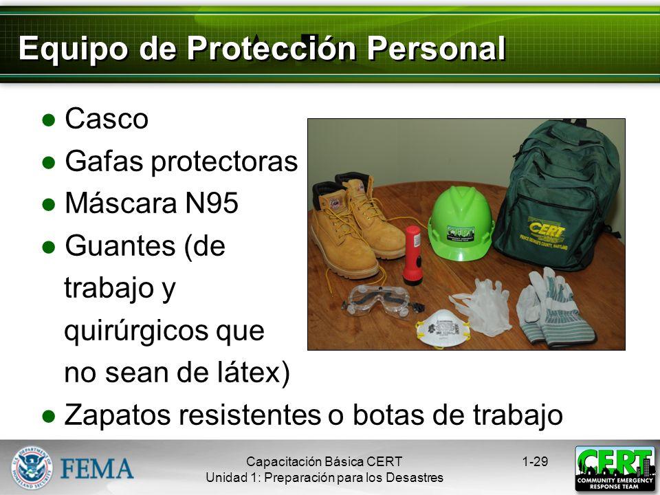 Organización del CERT 1-28Capacitación Básica CERT Unidad 1: Preparación para los Desastres