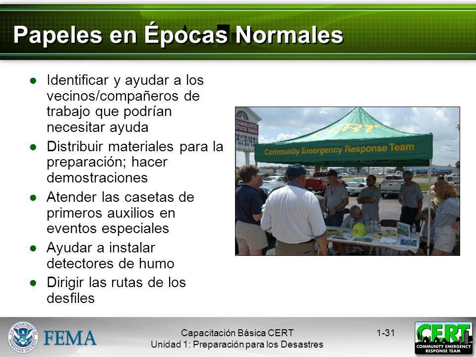 Los CERTs en Acción 1-30Capacitación Básica CERT Unidad 1: Preparación para los Desastres