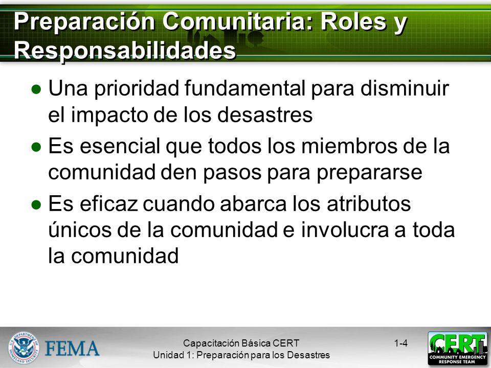 Objetivos de la Unidad Identificar los roles y responsabilidades en la preparación comunitaria Describir los tipos de peligros que afectan a la comuni