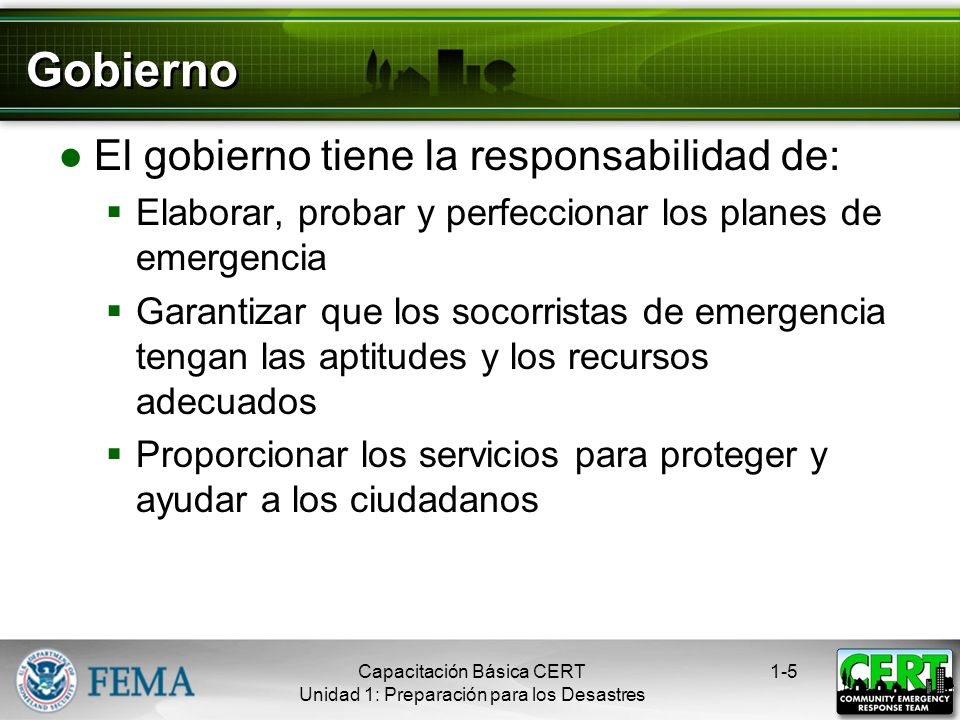 Gobierno El gobierno tiene la responsabilidad de: Elaborar, probar y perfeccionar los planes de emergencia Garantizar que los socorristas de emergencia tengan las aptitudes y los recursos adecuados Proporcionar los servicios para proteger y ayudar a los ciudadanos 1-5Capacitación Básica CERT Unidad 1: Preparación para los Desastres