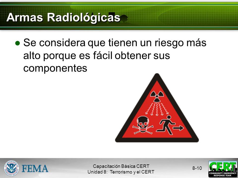 8-9 Armas Biológicas Vías de exposición: Inhalación Ingestión Absorción Capacitación Básica CERT Unidad 8: Terrorismo y el CERT