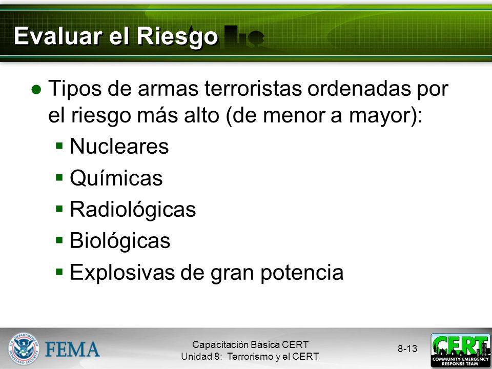 8-12 Explosivos de Gran Potencia Son las armas preferidas por los terroristas Se usan en el 80% de los ataques Armas de guerra: granadas, morteros, mi