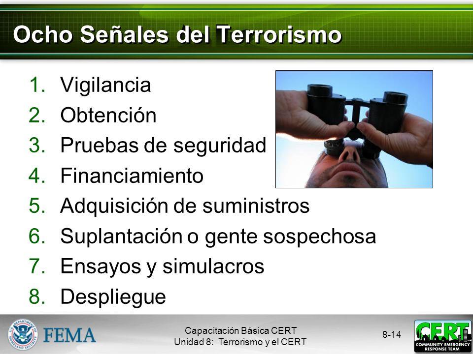 8-13 Evaluar el Riesgo Tipos de armas terroristas ordenadas por el riesgo más alto (de menor a mayor): Nucleares Químicas Radiológicas Biológicas Expl