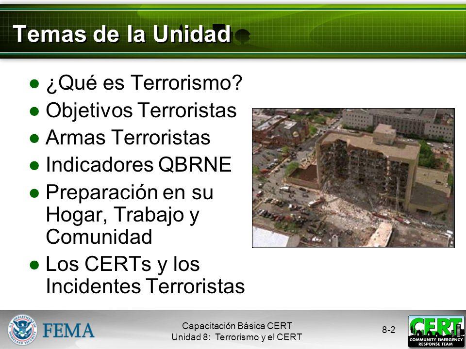 Capacitación Básica CERT Unidad 8: Terrorismo y el CERT 8-1 Objetivos de la Unidad Definir el terrorismo Identificar los objetivos potenciales en la c