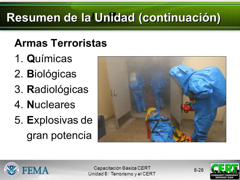 8-25 Resumen de la Unidad Los terroristas atacan para: Intimidar al gobierno o a la población civil Promover sus objetivos Sus objetivos son: Provocar