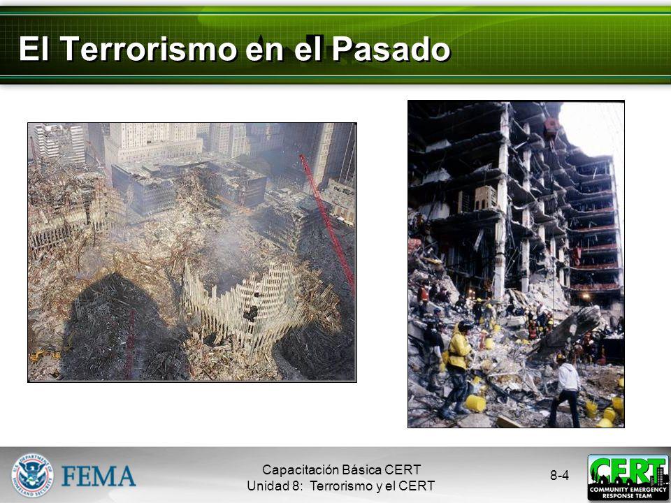 8-3 ¿Qué es Terrorismo? El uso ilegal de la fuerza o la violencia contra las personas o la propiedad para intimidar o coaccionar a un gobierno, a la p