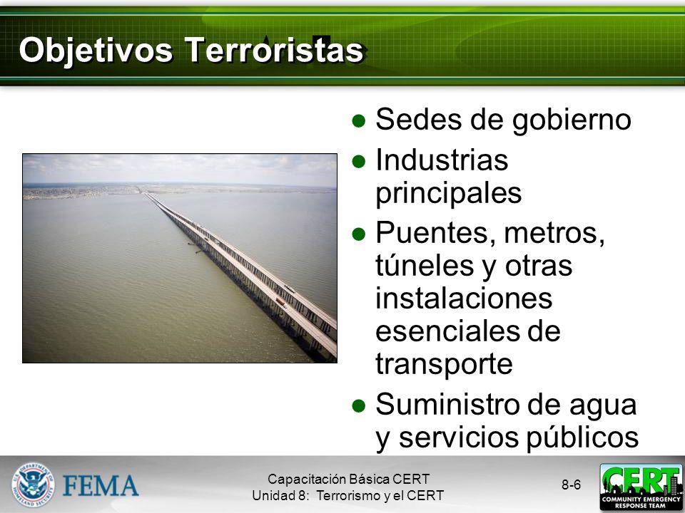 8-6 Objetivos Terroristas Sedes de gobierno Industrias principales Puentes, metros, túneles y otras instalaciones esenciales de transporte Suministro de agua y servicios públicos Capacitación Básica CERT Unidad 8: Terrorismo y el CERT